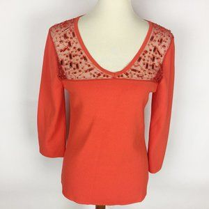 🌷CABLE & GAUGE Orange Sweater Mesh Beaded Sweater